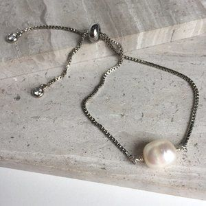 Single Freshwater Pearl Adjustable Silver Bracelet